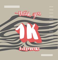1k followers thank you template vector