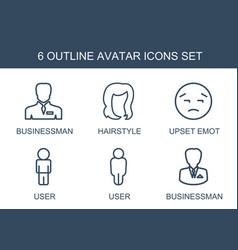 6 avatar icons vector