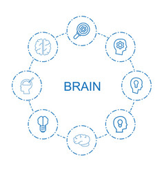 8 brain icons vector image