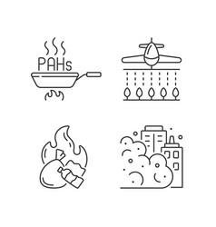 Air pollution linear icons set vector