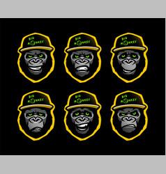 angry gorilla head in baseball cap on a dark vector image