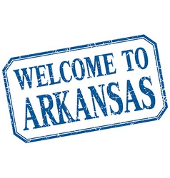 Arkansas - welcome blue vintage isolated label vector image