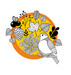 autumn print with leaves and bird in the forest vector image