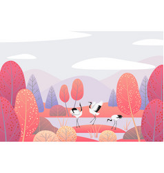 Autumn scene with japanese cranes and red trees vector