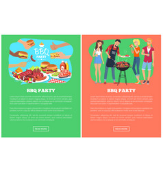 bbq party collection web pages vector image