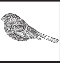 bird painted with small patterns isolated object vector image