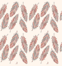 birds feathers with colored lines seamless pattern vector image