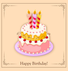 Birthday card with cake tier candles cherry and vector