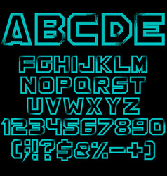 blue art alphabet numbers and signs vector image