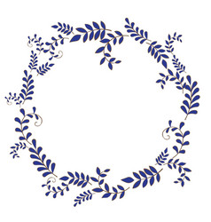 Blue fern wreath for decoration on nature vector