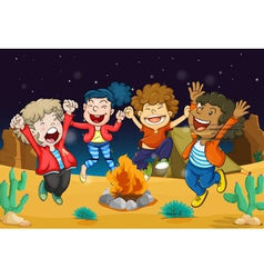 boys near fire vector image