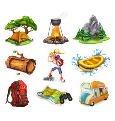 camp and adventure 3d icons set vector image