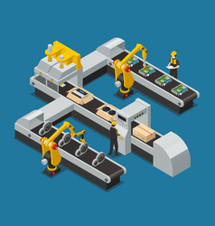 Car electronics autoelectronics isometric factory vector