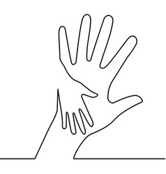 Caring hand continuous line drawing concept vector