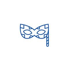 carnaval mask line icon concept carnaval mask vector image