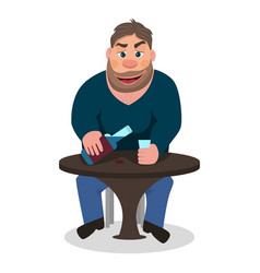 cartoon man drinking alcohol vector image