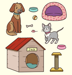 cartoon pets kitten puppy and accessories for vector image