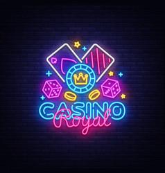 casino royal neon logo casino neon sign vector image