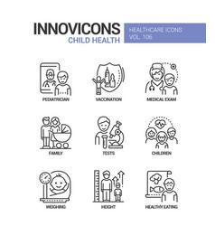 child health - line design style icons set vector image