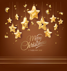 christmas tree golden realistic toys set vector image