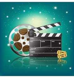 clapper cinema tickets vector image