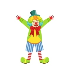 Colorful Friendly Clown With Multicolor Wig In vector image
