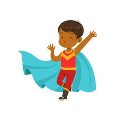 Comic brave kid in superhero red costume with mask vector