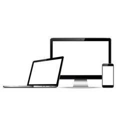 computer monitor laptop and mobile phone with vector image
