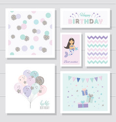 Cute birthday cards set for girls with glitter vector