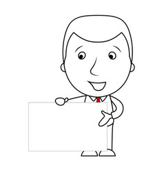 cute businessman line cartoon holding a blank sign vector image