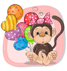Cute cartoon monkey with balloons vector