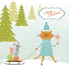 cute kitty carries sledge with gifts and little vector image