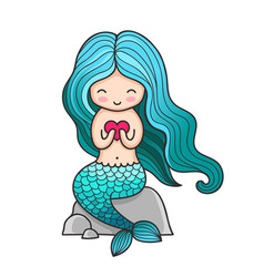 cute little mermaid with heart sitting on a rock vector image
