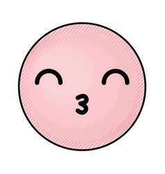 cute pink kawaii emoticon face vector image