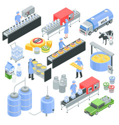 Dairy factory isometric set vector