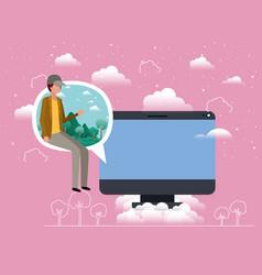 Desktop with boy seated in speech bubble vector