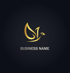 Dove bird leaf gold logo vector