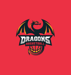 dragon basketball design concept template vector image