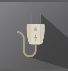 Electric plug icon in shape on a dark background vector