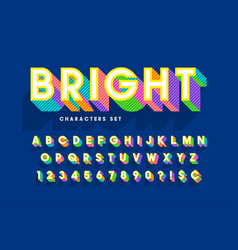 extra bright 3d display font design alphabet vector image