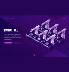 factory conveyor belt landing page robotics arms vector image