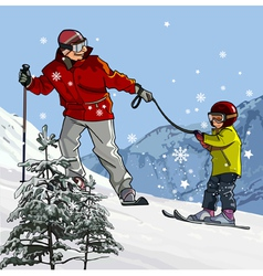 Father and son skiing in the mountains vector image