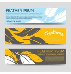 Feathers horizontal banners template set vector image