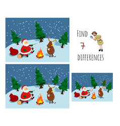find 7 differences educational game for children vector image