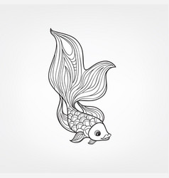 fish isolated hand drawn doodle line decorative vector image