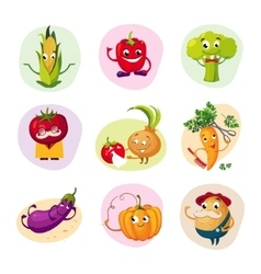 Funny Vegetable Characters Set vector