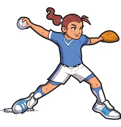 Girl softball pitcher vector