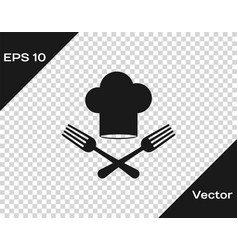 Grey chef hat and crossed fork icon isolated on vector