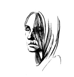 hand drawn pencil sketch with face of a vector image vector image