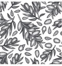 Hand drawn sketch almond seamless pattern organic vector